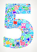 Number Five on Modern Technology & Communication Icon Pattern