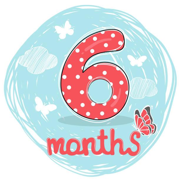 illustrations, cliparts, dessins animés et icônes de nombre pour le sixième mois de vie. dessiné à la main. - nuage 6