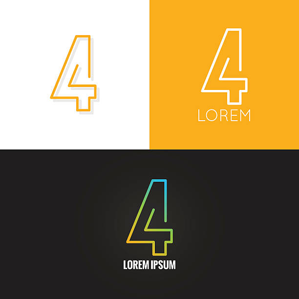 Number four 4 logo design icon set background Number four 4 logo design icon set background 10 eps four people stock illustrations