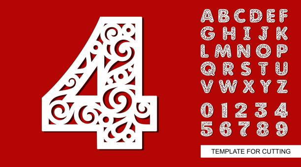 Number four - 4 Full English alphabet and digits 0, 1, 2, 3, 4, 5, 6, 7, 8, 9. Lace letters and numbers. Template for laser cutting, wood carving, paper cut and printing. Vector illustration. decorative laser cut set stock illustrations