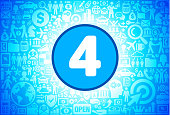 Number Four Icon on Business and Finance Vector Background. The blue button with the white icon on it is in the center of the illustration. The button is surrounded with business and finance icon pattern. The icons vary in size and shades of blue color. There is a white glow around the round button which helps it stand out from the background. The icons include such popular business and finance symbols as business people, business meetings and travel, profits and financial charts and many more. You can also use each icon separately from the main background.