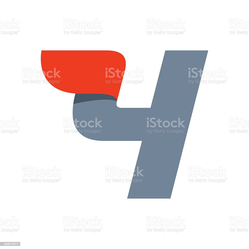 Number four icon vector art illustration
