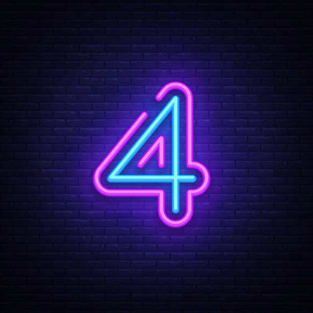 Number Four symbol neon sign vector. Number Four template neon icon, light banner, neon signboard, nightly bright advertising, light inscription. Vector illustration Number Four symbol neon sign vector. Number Four template neon icon, light banner, neon signboard, nightly bright advertising, light inscription. Vector illustration. four people stock illustrations