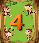 Number four with 4 monkeys on the tree