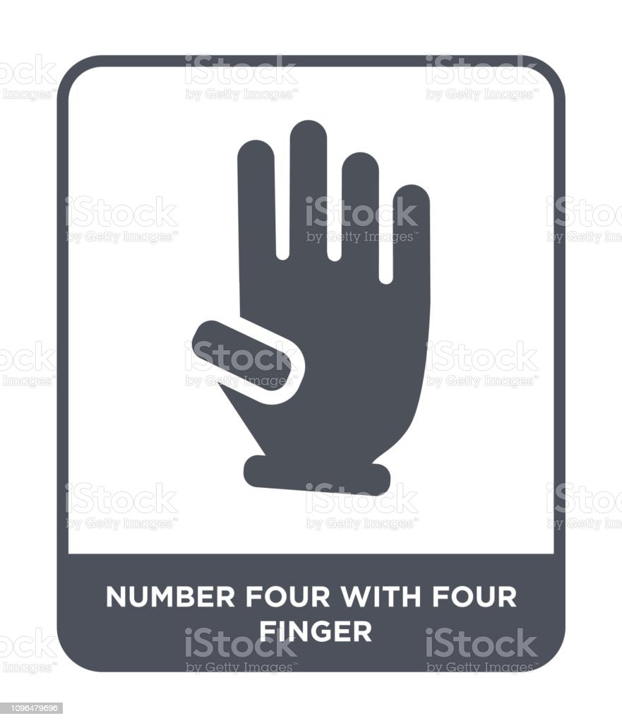 number four with four finger icon vector on white background, number four with four finger trendy filled icons from Hands and guestures collection vector art illustration