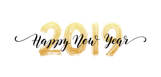 2019 number hand lettering. happy new year script text. dry brush texture effect. merry christmas. vector illustration - happy new year stock illustrations