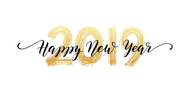 ilustraciones, imágenes clip art, dibujos animados e iconos de stock de letras de mano número 2019. feliz año nuevo texto de secuencia de comandos. efecto de la textura del pincel seco. feliz navidad. ilustración de vector - víspera de año nuevo