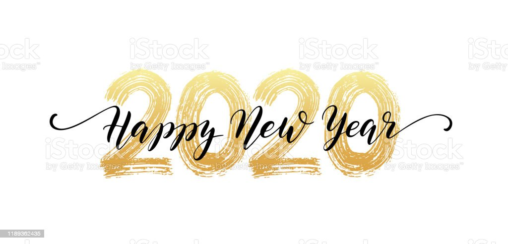 2020 number hand lettering. Happy New Year script text. Dry brush texture effect. Merry Christmas. Vector Illustration - Royalty-free 2020 arte vetorial