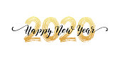 istock 2020 number hand lettering. Happy New Year script text. Dry brush texture effect. Merry Christmas. Vector Illustration 1189362435