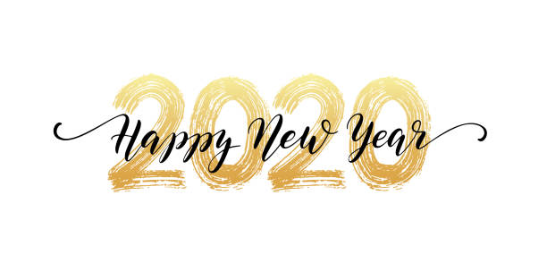 2020 number hand lettering. happy new year script text. dry brush texture effect. merry christmas. vector illustration - happy new year stock illustrations