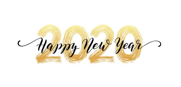 ilustraciones, imágenes clip art, dibujos animados e iconos de stock de 2020 número de letras a mano. feliz texto del guión del año nuevo. efecto de textura de pincel seco. feliz navidad. ilustración vectorial - víspera de año nuevo