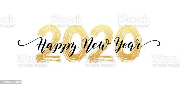 2020 Number Hand Lettering Happy New Year Script Text Dry Brush Texture Effect Merry Christmas Vector Illustration - Arte vetorial de stock e mais imagens de 2020
