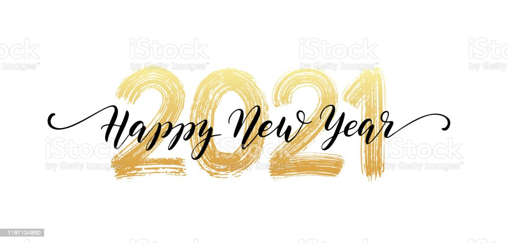 2021 number hand lettering. Happy New Year script text. Dry brush texture effect. Merry Christmas. Vector Illustration - Royalty-free 2021 arte vetorial