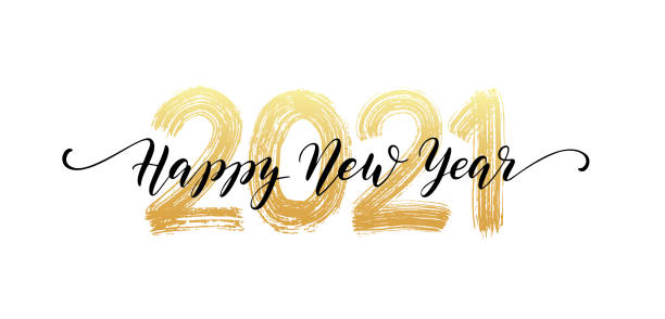 ilustrações de stock, clip art, desenhos animados e ícones de 2021 number hand lettering. happy new year script text. dry brush texture effect. merry christmas. vector illustration - new year