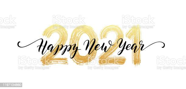 2021 Number Hand Lettering Happy New Year Script Text Dry Brush Texture Effect Merry Christmas Vector Illustration - Arte vetorial de stock e mais imagens de 2021