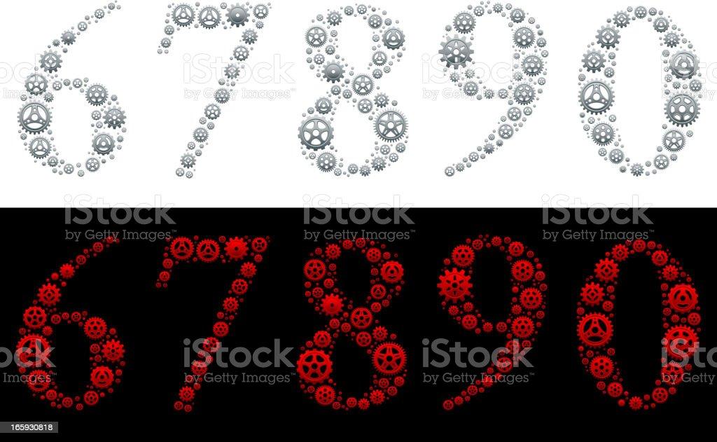 Number in Gears: 6-nine, 0 royalty-free stock vector art