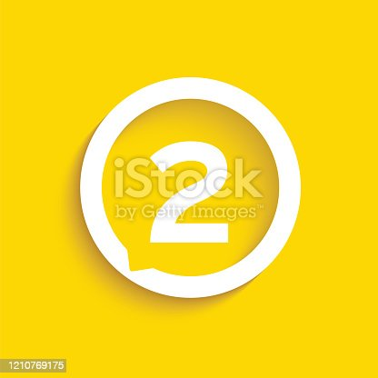 istock Number in speech bubble vector icon. Flat vector illustration isolated on yellow background. Stock illustration 1210769175