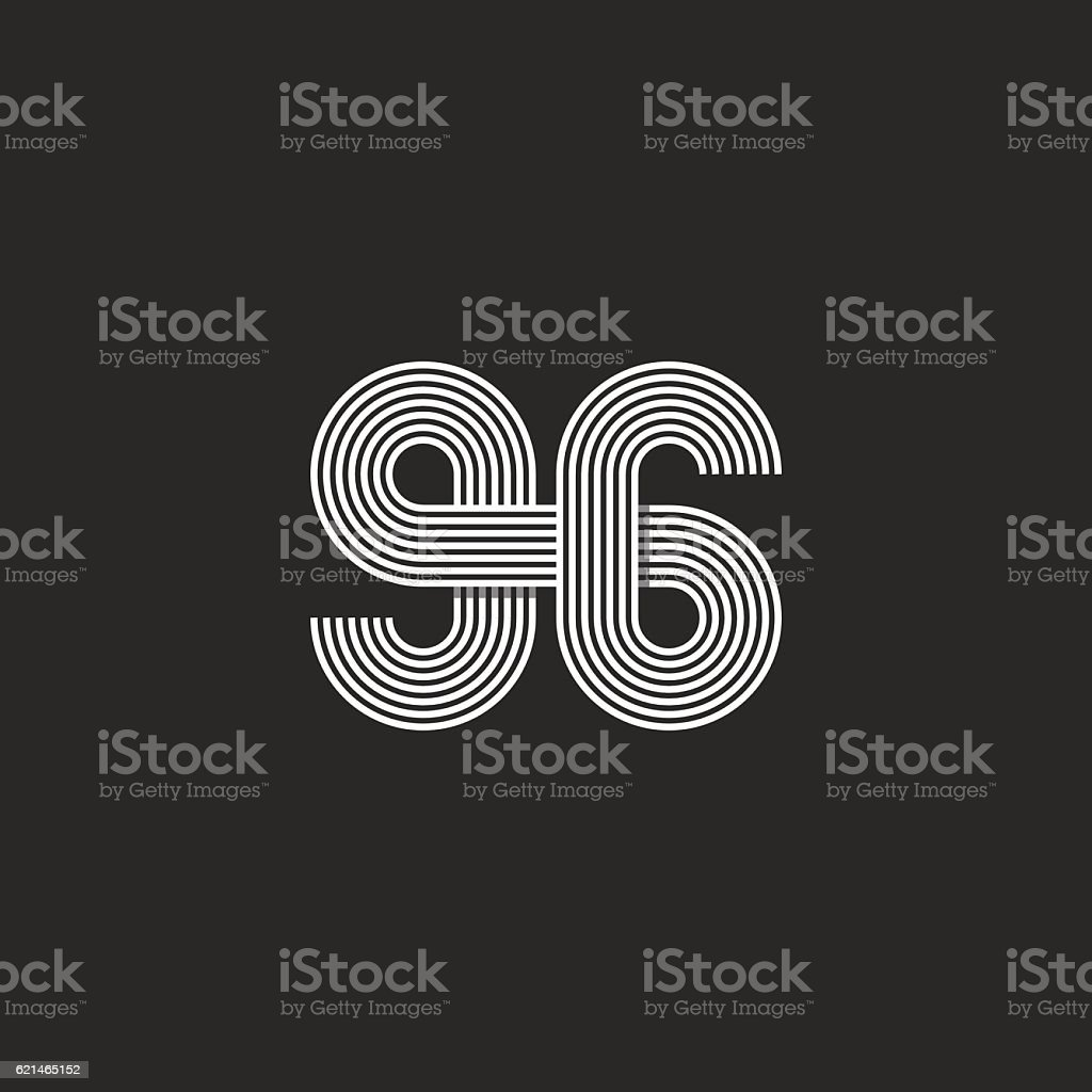Number logo 96 offset thin line monogram, mockup print t-shirt royalty-free