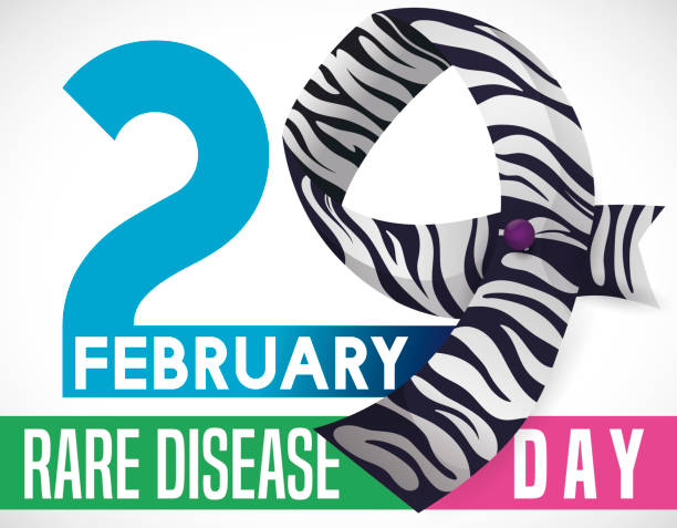 number made with striped ribbon for rare disease day celebration - leap year stock illustrations