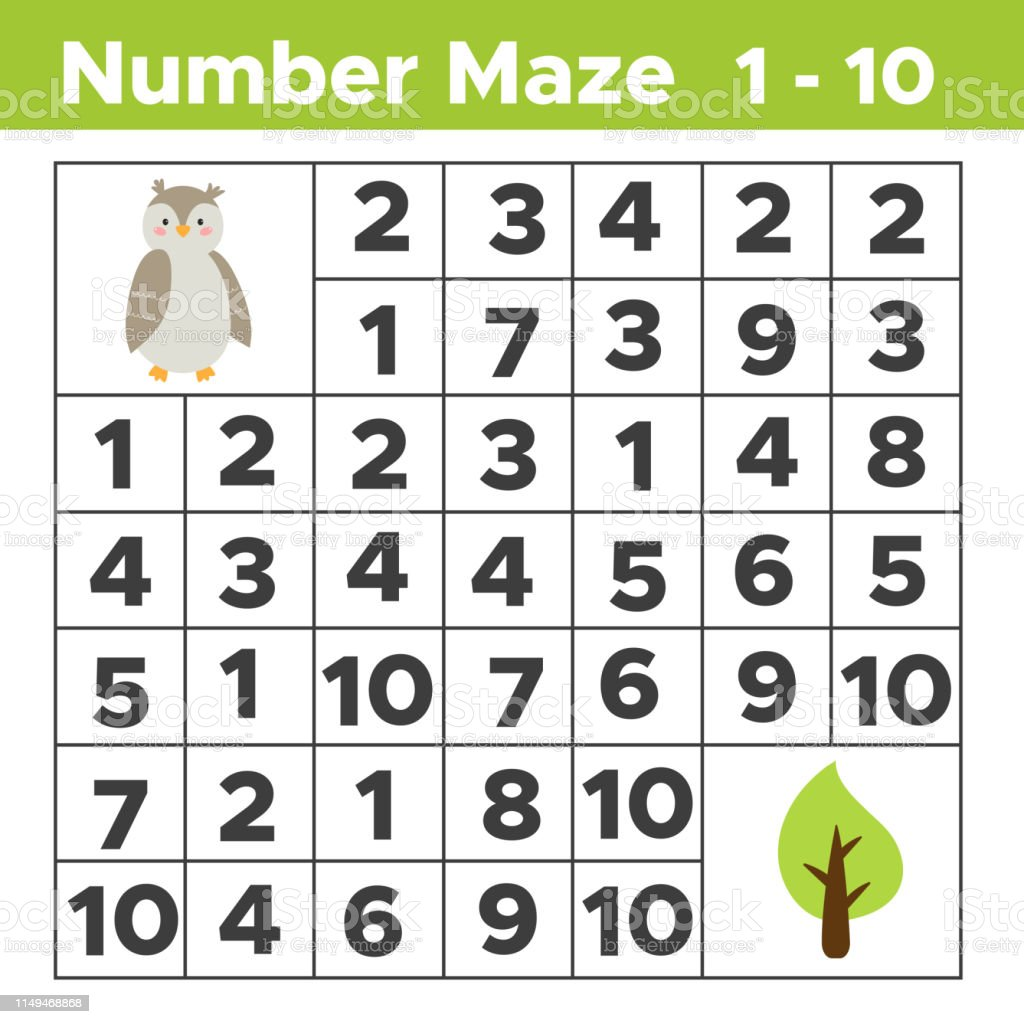 Number Maze Math Puzzle Game For Children Help The Owl Find A Tree