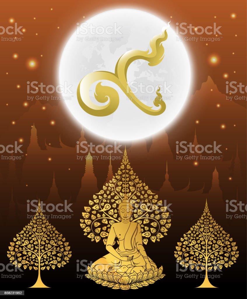 Número nueve para rey y Buda la tradición tailandesa en el fondo del templo - ilustración de arte vectorial