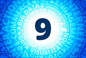 Number Nine Icon on Internet Modern Technology Words Background. This blue vector background features the main icon in the center of the image. The icon is surrounded by a set of conceptual words and technology and internet icons. The icon is highlighted by a strong starburst glow effect and stands out from the rest of the image. The technology terminology is arranged in a circular manner. The predominant tone of the image is blue with a circular gradient that originates from the center of the composition.