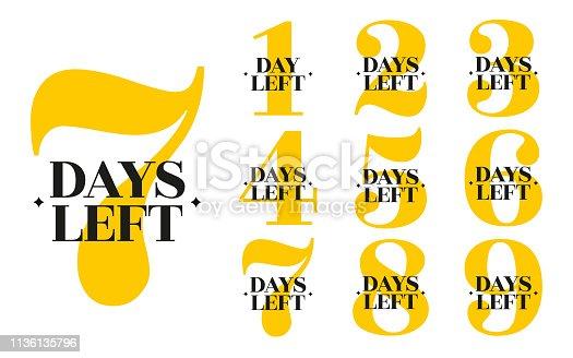 Number of days left. Set of vector emblems