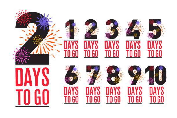 number of days left to go, badges or sticker design, flat vector design vector art illustration