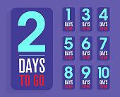 number of days left to go, badges or sticker design, flat vector design, counter