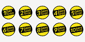 Number of days left to go set. Countdown badges, labels, or stickers collection. 10,9,8,7,6,5,4,3,2,1 days to go. Vector illustration.