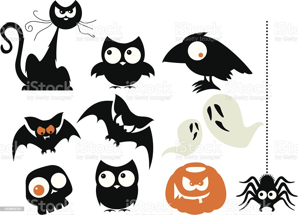 A number of Halloween cartoon characters vector art illustration