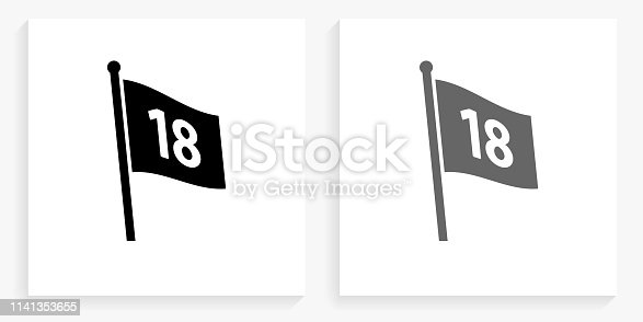 Number on The Flag Black and White Square Icon. This 100% royalty free vector illustration is featuring the square button with a drop shadow and the main icon is depicted in black and in grey for a roll-over effect.