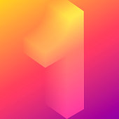 Modern and trendy design. Number 1 (one) in isometric view with beautiful color gradients (orange, red, pink, purple). Vector Illustration (EPS10, well layered and grouped). Easy to edit, manipulate, resize or colorize. Please do not hesitate to contact me if you have any questions, or need to customise the illustration. http://www.istockphoto.com/portfolio/bgblue