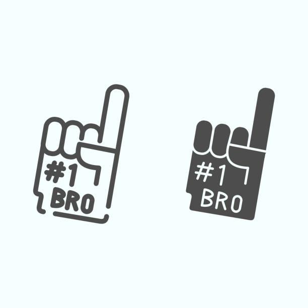 illustrazioni stock, clip art, cartoni animati e icone di tendenza di linea di guanti numero uno e icona solida. illustrazione vettoriale con dito di schiuma numero 1 isolata su bianco. design dello stile del contorno della mano della ventola, progettato per il web e l'app. eps 10. - souvenir