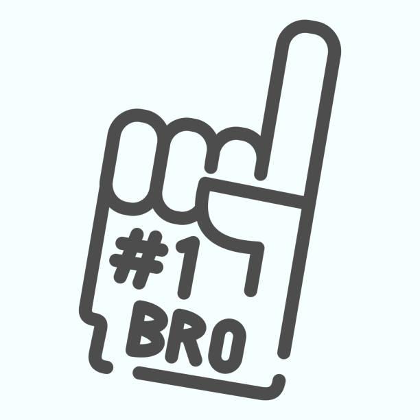 illustrazioni stock, clip art, cartoni animati e icone di tendenza di icona numero uno della linea del guanto. illustrazione vettoriale con dito di schiuma numero 1 isolata su bianco. design dello stile del contorno della mano della ventola, progettato per il web e l'app. eps 10. - souvenir