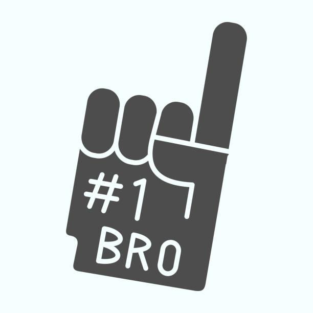 illustrazioni stock, clip art, cartoni animati e icone di tendenza di icona solida del guanto numero uno. illustrazione vettoriale con dito di schiuma numero 1 isolata su bianco. design in stile glifo a mano della ventola, progettato per web e app. eps 10. - souvenir
