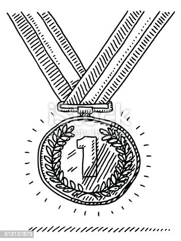 istock Number One Gold Medal Success Drawing 513137873