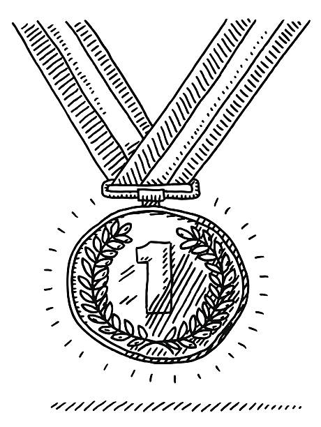 Number One Gold Medal Success Drawing Hand-drawn vector drawing of a Number One Gold Medal, Success Concept. Black-and-White sketch on a transparent background (.eps-file). Included files are EPS (v10) and Hi-Res JPG. celebration stock illustrations