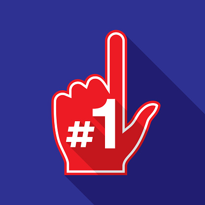 Number One Hand Icon Flat