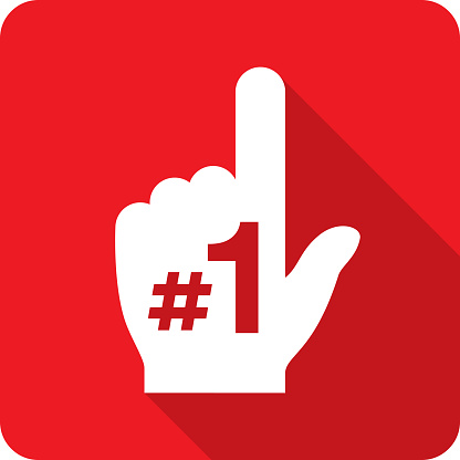 Number One Hand Icon Silhouette
