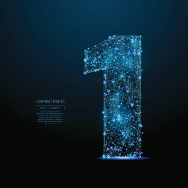 Nummer eins low-Poly blau – Vektorgrafik