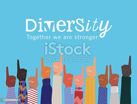 istock number one sign with hands up and diversity together we are stronger vector design 1265698541