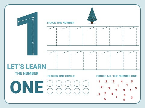Number one tracing practice worksheet. Training write and count numbers. Coloring exercises
