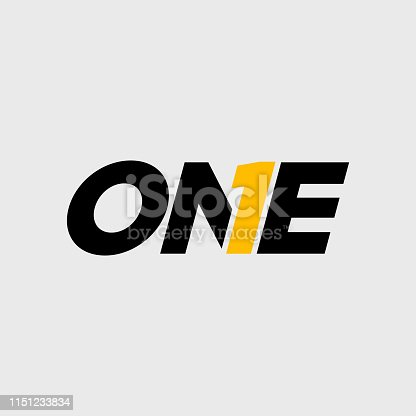 an amazing design of Number One Typography Symbol Design