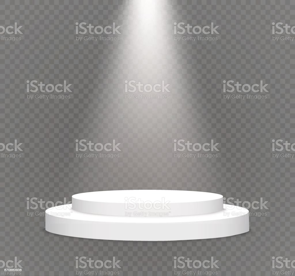 number one.podium on a transparent background.lit white scene.the podium of winners vector art illustration