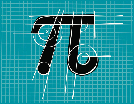 Number Pi, drawn on a grid