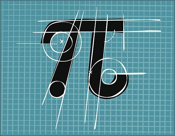 Número Pi, hecha en una rejilla - ilustración de arte vectorial
