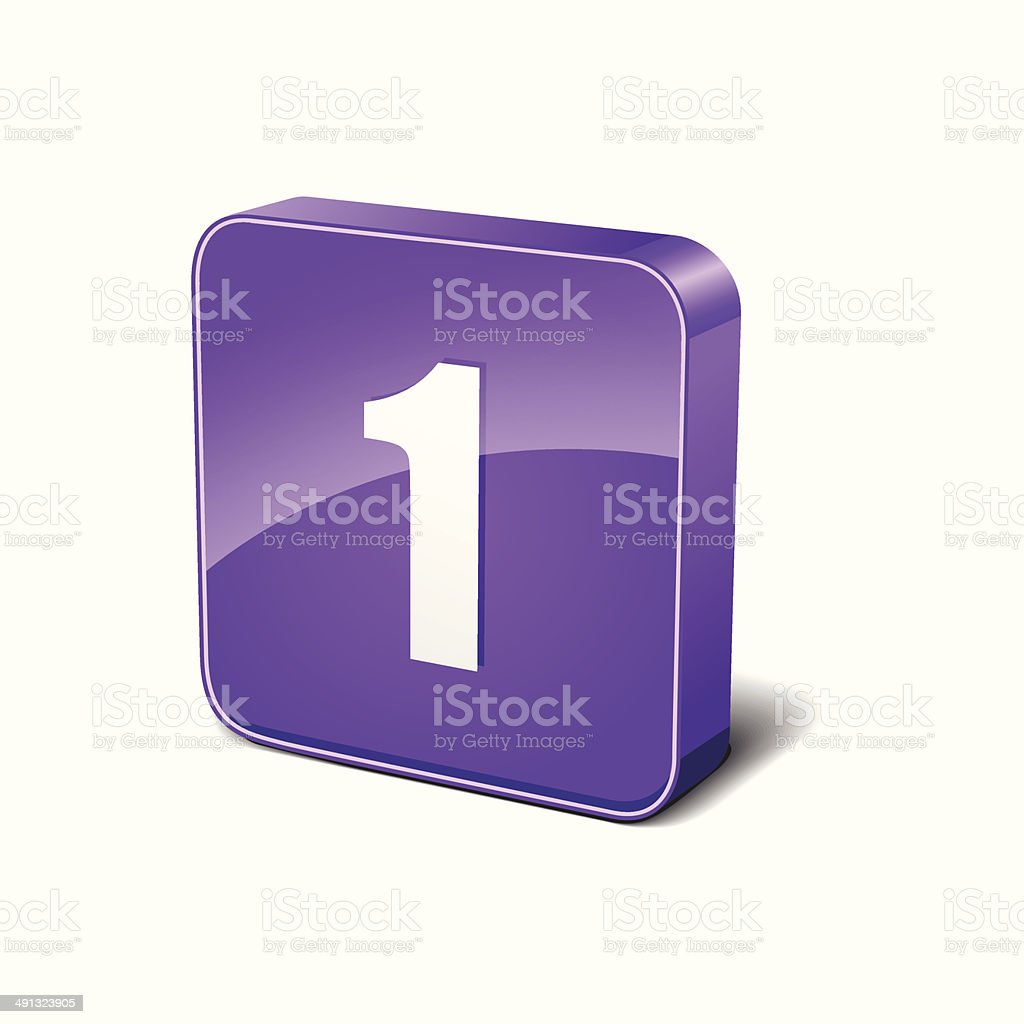 1 Number Rounded Corner Purple Vector Icon Button royalty-free stock vector art