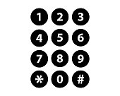 Number set circle button. vector illustration icon.