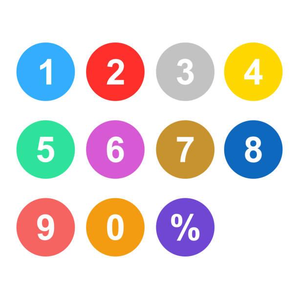 번호 설정 화려한 고립 된 벡터 - 숫자 stock illustrations